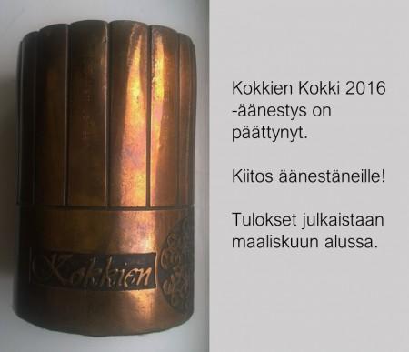Kokkien Kokki 2016 -äänestys on päättynyt